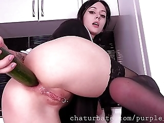 Wednesday Addams teen cosplay food fetish cucumber in ass